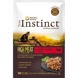 SOBRE TRUE INSTINCT HIGH MEAT POUCH ADULT BEEF 70GR