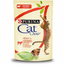PURINA CAT CHOW Adulto con Buey en Tiernos trozos en gelatina con berenjena 85g