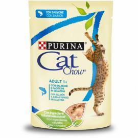 PURINA CAT CHOW Adulto con Salmón en Tiernos trozos en gelatina con judías verdes 85g