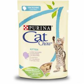 PURINA CAT CHOW Gatito con Pavo en Tiernos trozos en gelatina con calabacín 85g